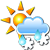 Partly cloudy and wet snow showers