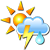 Partly cloudy, possible thunderstorms with rain