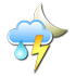 Partly cloudy, thunderstorms with rain